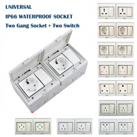 IP55 Waterproof Wall Outlets 2 Socket + 2 Switch AC 16A 110V~250V High Quality Sockets Worldwide Multiple Standard Wall Sockets