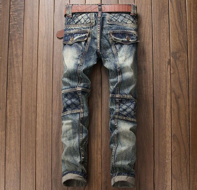 European American Style de luxe de qualité Hommes slim jeans hommes denim pantalon Droite vintage marque de mode bleu jeans pour hommes
