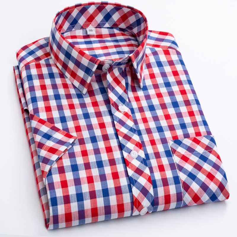 2019 新着ファッション夏薄型半袖純粋な綿チェック柄ルーズ大男性ドレスシャツスマートカジュアルプラスサイズ m-8XL