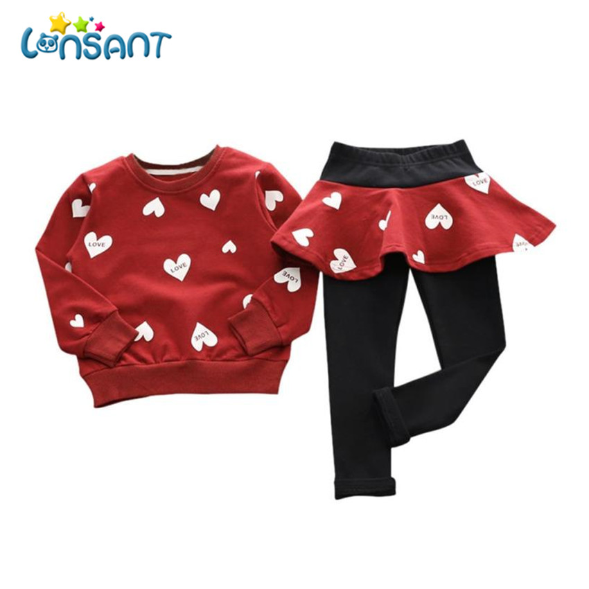 LONSANT Clothing Sets Baby Girl Clothes Fashion O-Neck Long Sleeve Shirt Sweater + Pants Skirt Children Sports Suit Dropshipping lonsant 2017 children set kids baby boy clothes sets gentleman rompers pants suit long sleeve baby boy clothes set dropshipping