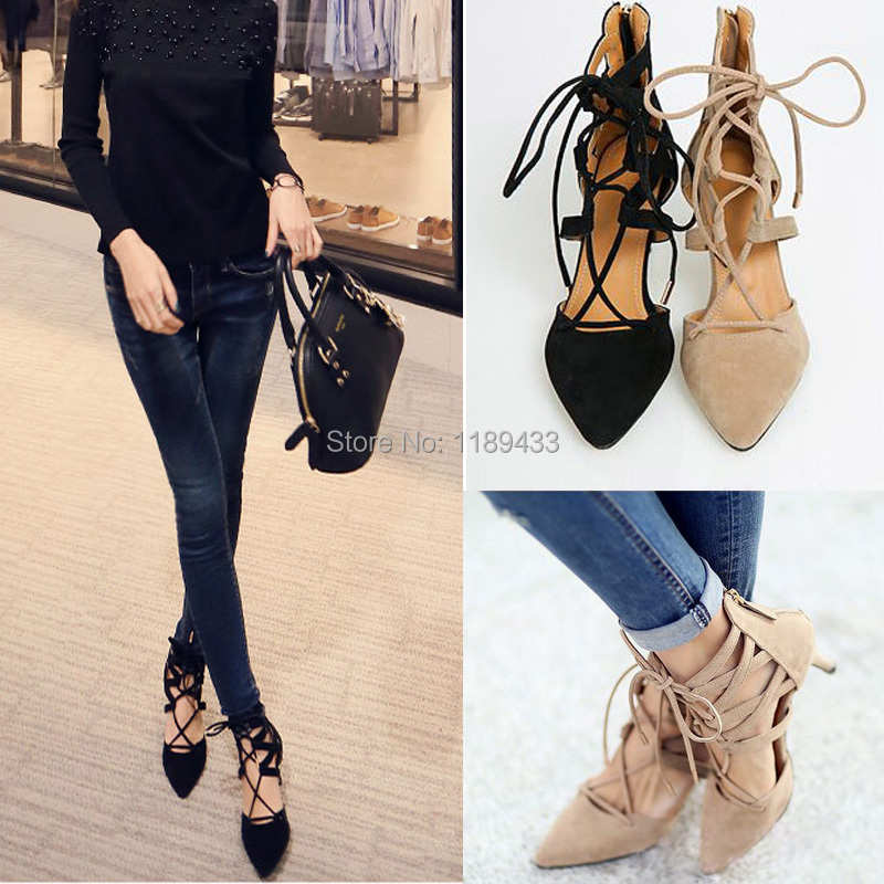 e3202dba086 Bandage pointed toe boots women suede leather gladiator boot thin high-heeled  shoes lace up sandals 2015 women s summer shoes