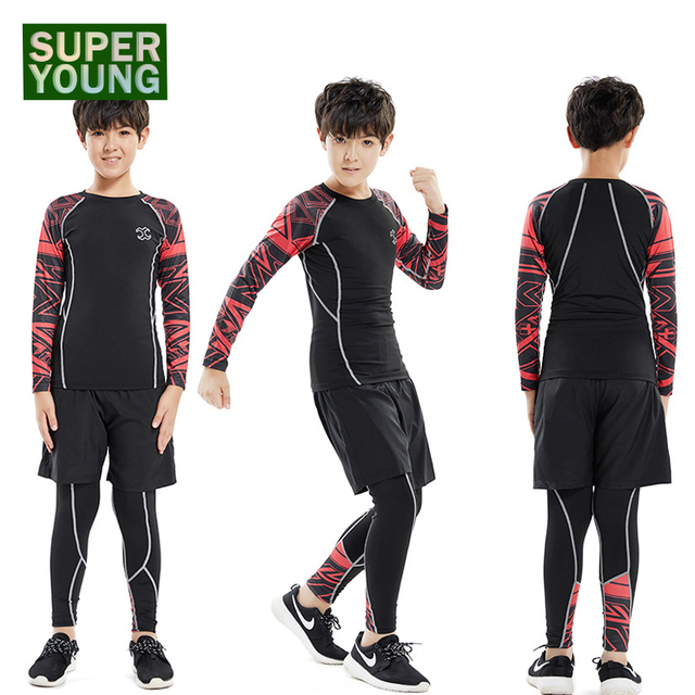 4ae974e68 Children Sportswear Compression Running Jogging Suits Leggings Mens Gym  Fitness Clothing Sets Kids Boys Outdoor Tight