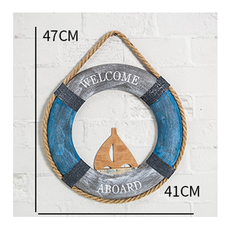 Creative rétro Méditerranée bois vie bouée mer utilisé barre d'ancrage décorations stéréo mur ornements