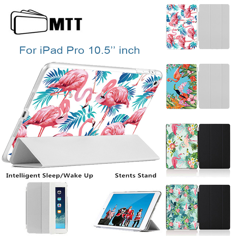 MTT Flamingo Back Case For iPad Pro 10.5 inch 2017 New PU Leather Case Thin Flip Smart Cover Case For iPad 10.5'' Coque Fundas for apple ipad pro 10 5 case 2017 new mtt parrot pu leather slim trifold smart cover for new ipad 10 5 pro cases coque fundas