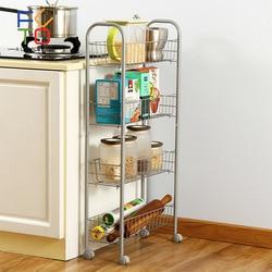 4 Tier Storage Organizer Rack Metal Rolling Trolley Cart Kitchen Bathroom Food Storage Basket Stand Save Space Holder