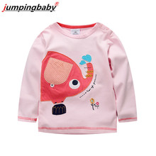 Jumpingbaby 2017 Girls T Shirt Baby Girl Clothes Kids Long Sleeve T-Shirts Cotton Camiseta T-shirt Roupas Infantis Menina Rabbit