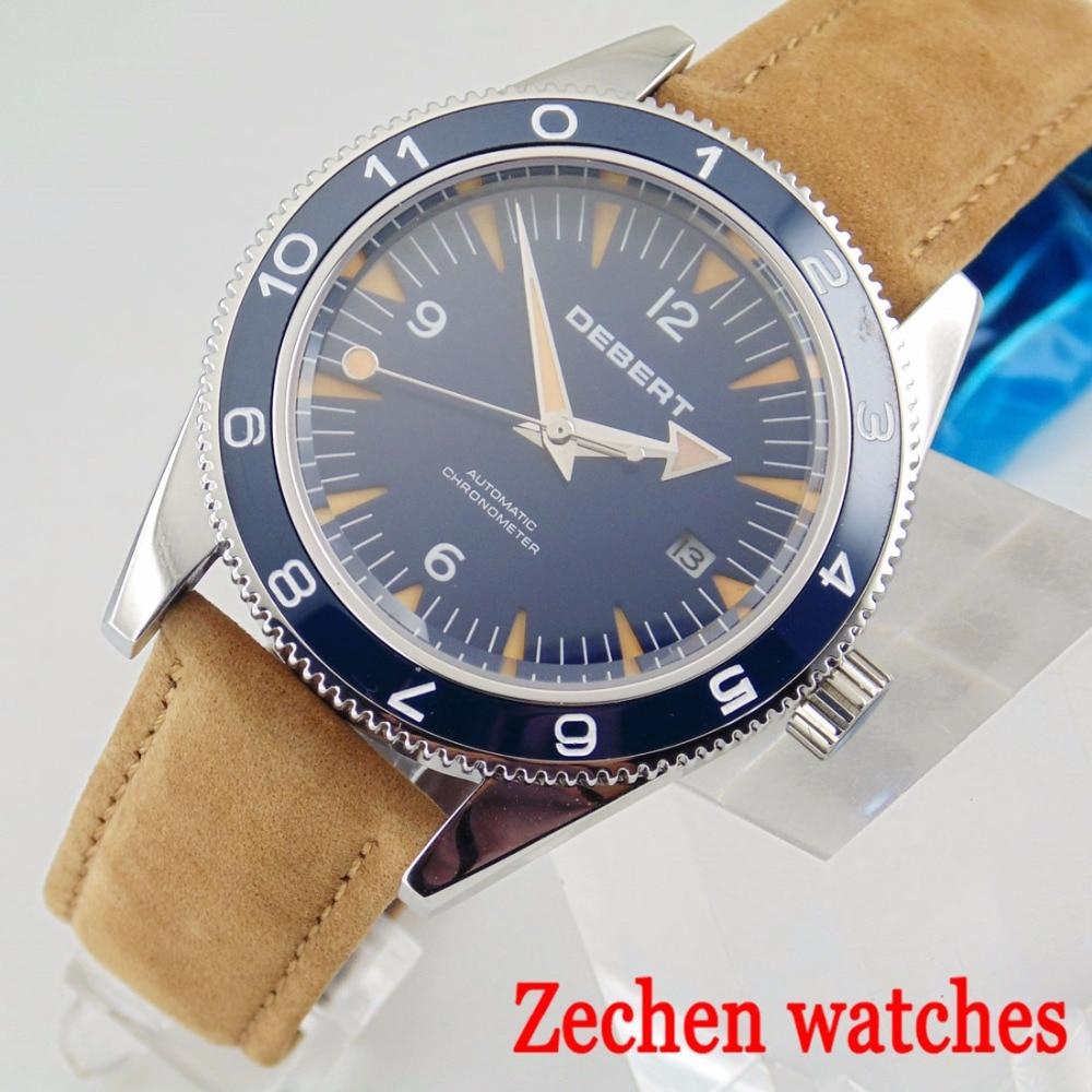 Debert 41mm man's automatic mechanical watch Miyota 821A sapphire leather belt watch waterproof watch цена и фото