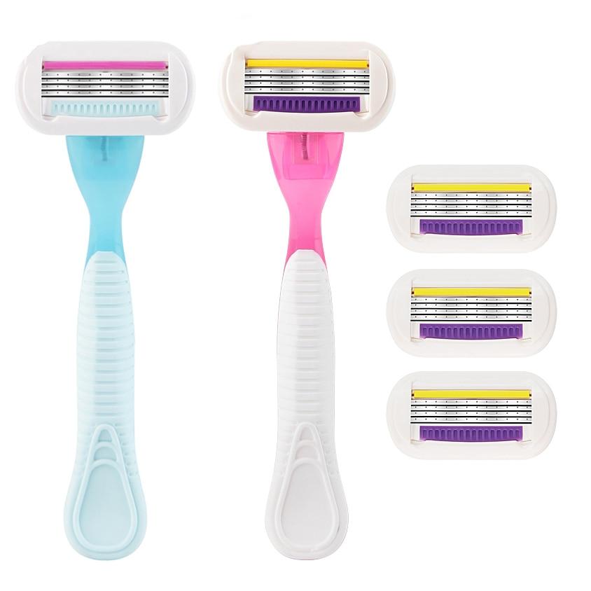 Giulietta 4-layer Female Shaving Razor Manual Shaving Women Bikini Razor Blades Shaving Hair Safety Lady Razor Head