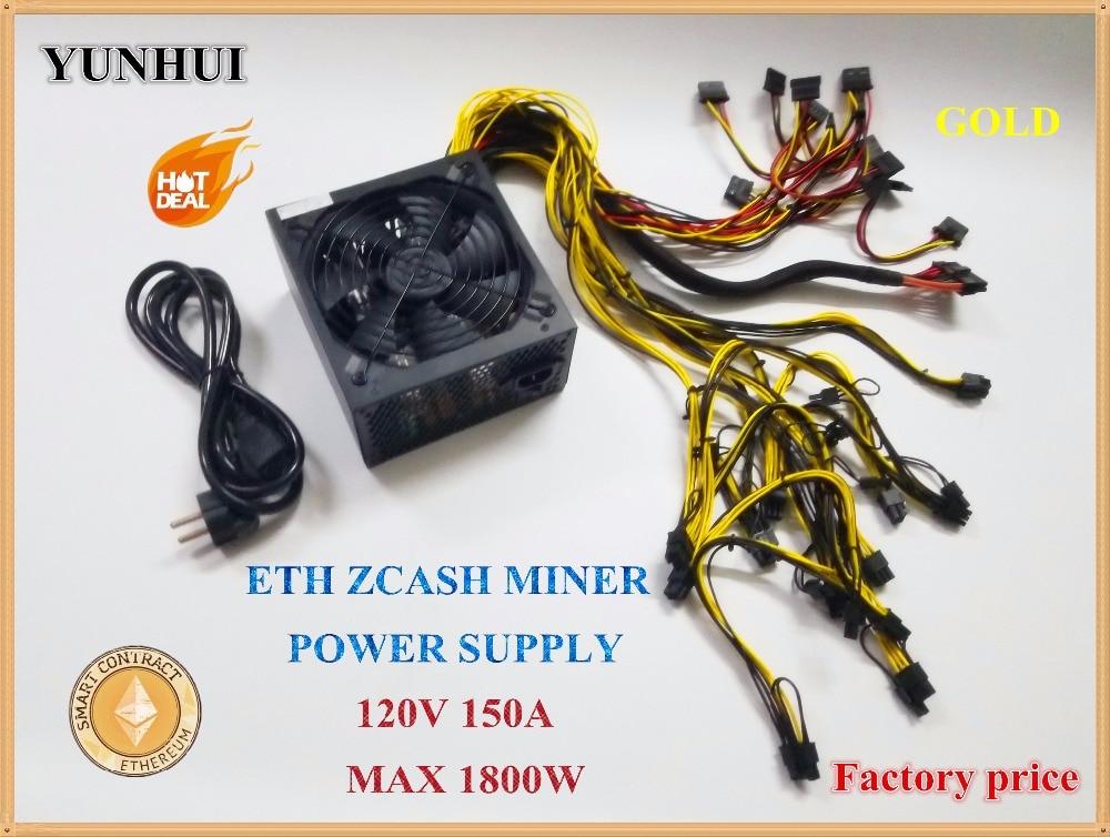 ETH ZCASH MINEUR alimentation 1800 w 12 v 150A (avec câble d'alimentation) approprié pour mineur R9 380/390 RX 470/480 RX 570/580 6 GPU CARTES