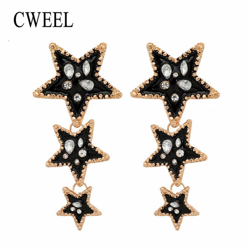CWEEL Crystal Earrings Female Long Statement Jewelry Drop Earrings For Women Gold Color Black Star Earrings Hanging