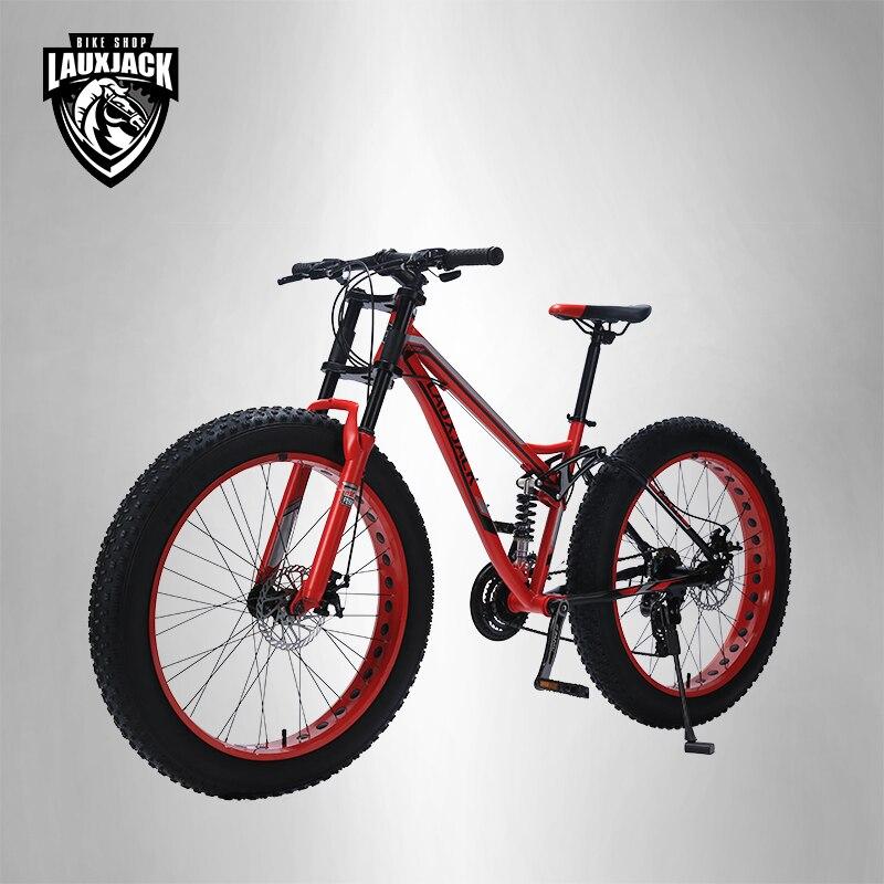 LAUXJACK Mountain жира велосипед Сталь Frame полный приостановление 24 Скорость Shimano дисковый тормоз 26 x4.0 колеса длинные вилка
