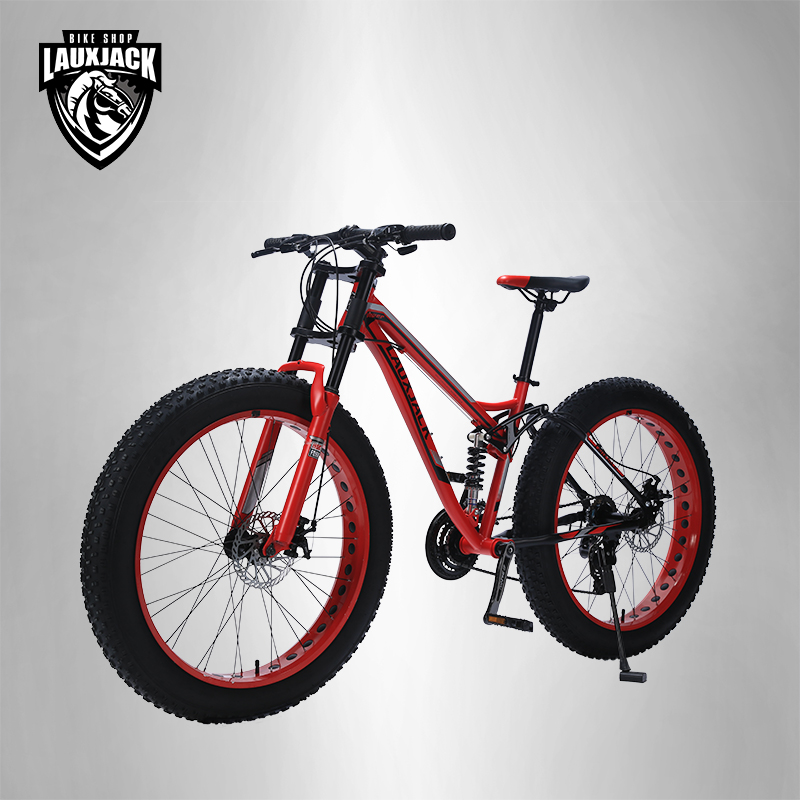 LAUXJACK Mountain Fat Bike Steel Frame Full Suspention 24 Speed Shimano Disc Brake 26x4.0 Wheel Long Fork mountain bike four perlin disc hubs 32 holes high quality lightweight flexible rotation bicycle hubs bzh002