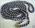 """Pearl Necklace Jewelry Free shipping new noble all-match woman 7-8mm Black Akoya Cultured Pearl long Necklace 55"""""""
