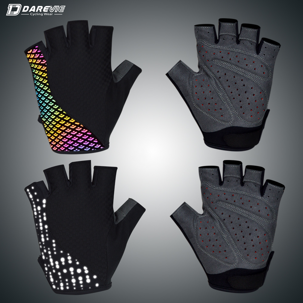 Darevie Reflective Cycling Gloves Hi viz Safe 3D Gel Padded Half Finger Cycling Gloves Breathable Reflective