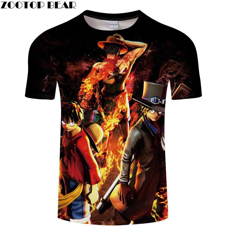 Newest Shirts Men Short Tees Casual Shirt Anime One Piece Cool Funny Boy Luffy Brand t-shirt Breathable 3D Print ZOOTOP BEAR