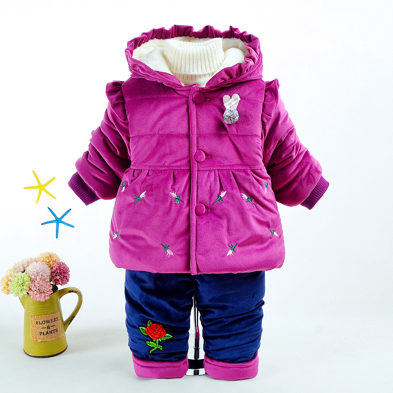 Winter Baby Girls Clothing Sets Hooded Velvet Jacket +pant Suit Children Warm Thick Clothing Set Toddler Kids Snowsuit Set winter baby girls clothing sets hooded velvet jacket pant suit children warm thick clothing set toddler kids snowsuit set