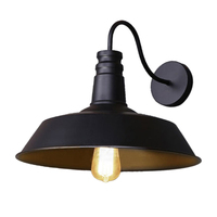 Retro Industrial Edison Simplicity Wall Lamp Antique Lamp with Metal Lamp Shade (Black)