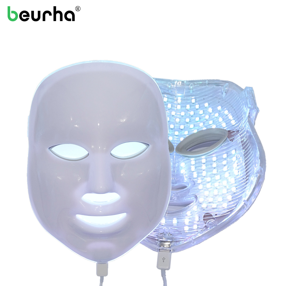 7Colors Light Photon Electric LED Facial Mask Home Use Skin PDT Skin Rejuvenation Anti Acne Wrinkle Removal Therapy Beauty Salon home use beauty skin care mini electric led light photon facial massager roller for wrinkle removal free shipping