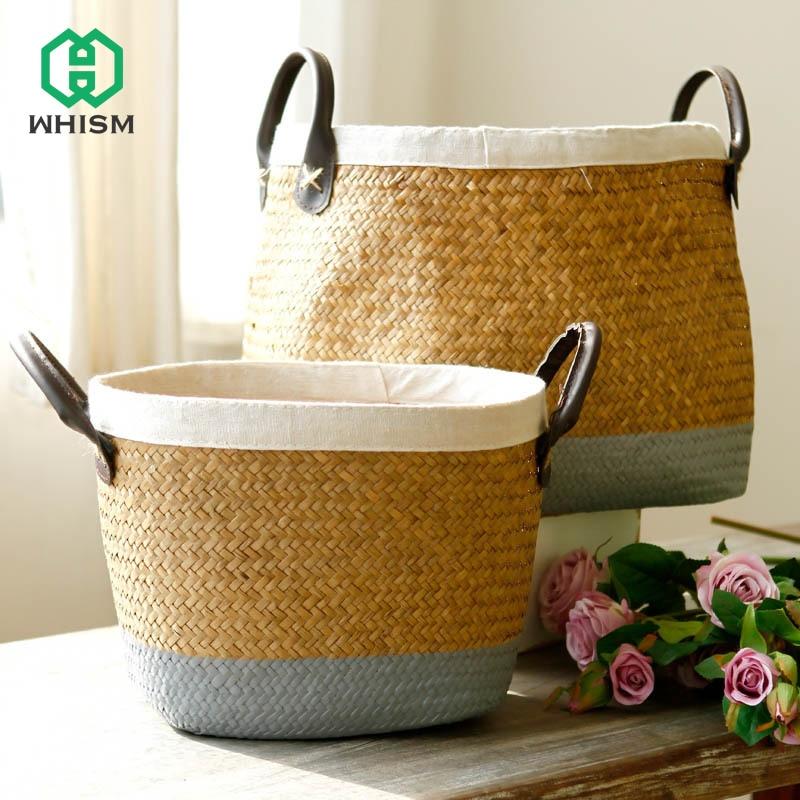 LARGE  SIZE HANDMADE Quality beautiful WICKER basket BAG Two Handles