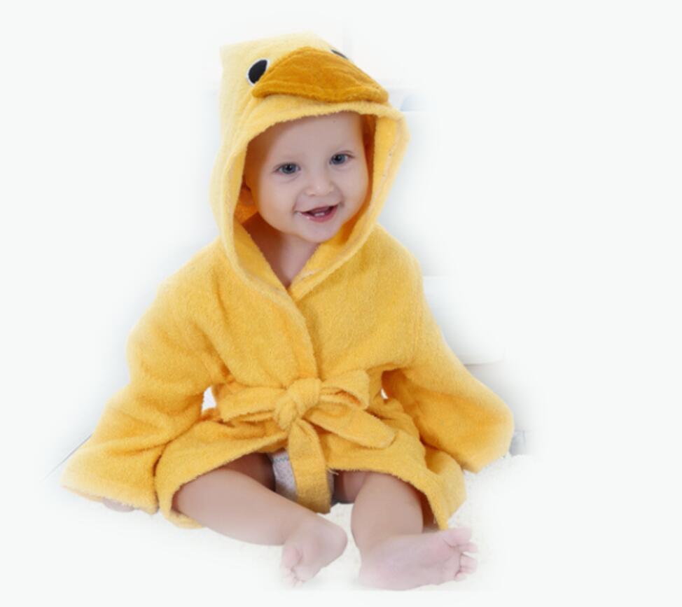Розничная ; банные халаты для малышей; детское банное полотенце; Банное полотенце с капюшоном для младенцев; банный халат с рисунками животных; модельный банный Халат - Цвет: duck0-2Y baby