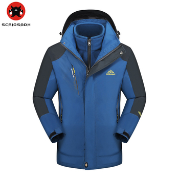Winter Removable Men's Soft Shell Fleece Warm Jacket Waterproof Windproof Hiking Skiing Camping Trekking Jacket