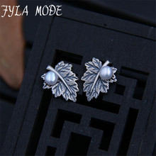 Vintage 100 Genuine 925 Sterling Silver Leaves Maple Leaf Shell Pearl Stud font b Earrings b