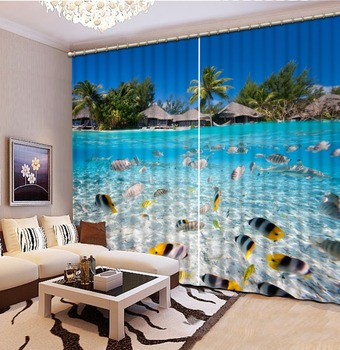 Photo Curtains Underwater world trees landscape 3D Curtains For Living room Bedding room Home Decorative.