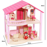 For Children Kids Christmas Birthday Gifts Wooden Doll House Model Miniature Dollhouse Furniture Toy Pretend Play Furniture Toys