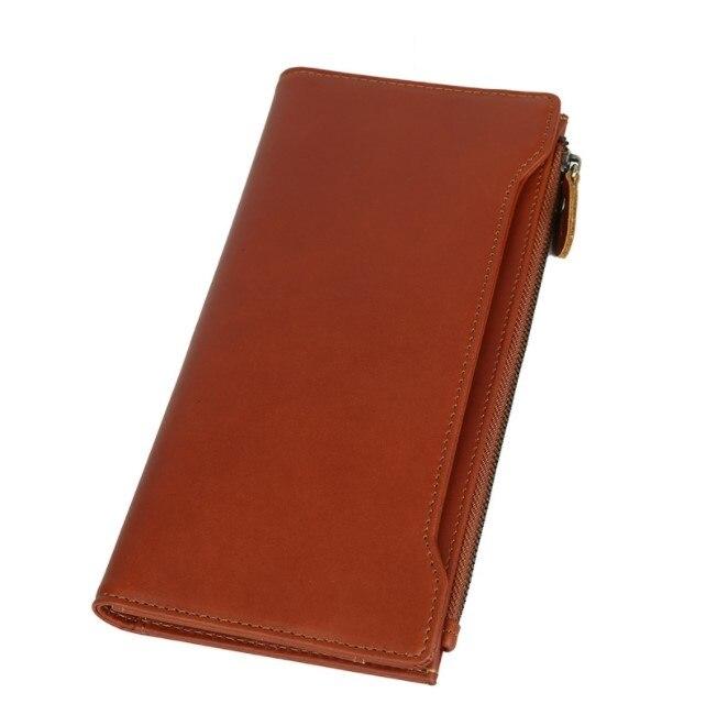 Homme en cuir véritable vintage portefeuilles 2018 nouvelle marque de mode mobile portefeuille homme affaires porte-cartes de crédit marque zipper portefeuille sacs