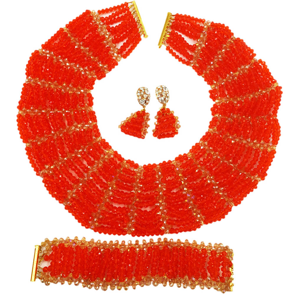 Red Gold Crystal Beaded Jewelry Set Nigerian Wedding African Beads Set Bridal Party Gifts SXK015 все цены