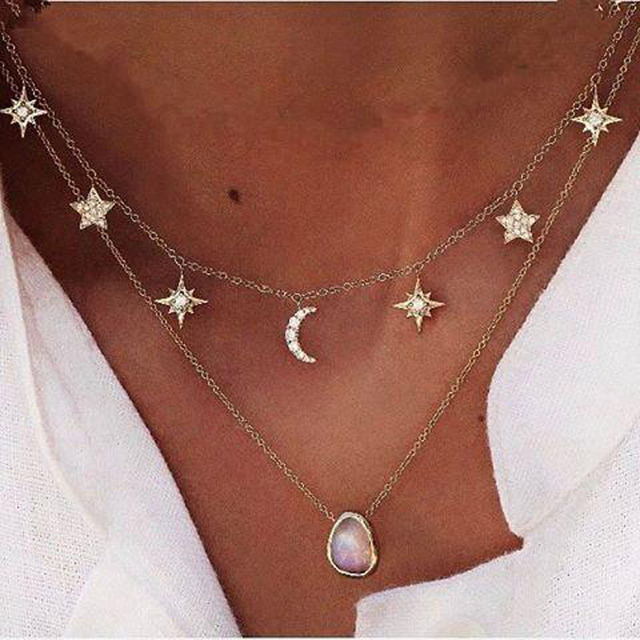 New fashion trendy jewelry moon star choker necklace gift for women girl N2096 2