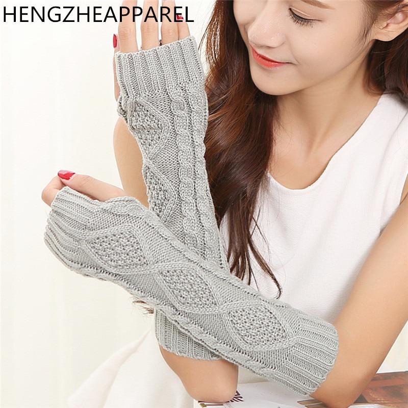 204415c412552 Fashion Warm Soft Women Gloves Winter Autumn Spring Arm Warmer Twist Long  Fingerless Knit solid color