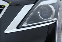 Lapetus Front Face Lights Lamp Eyelid Eyebrow Strip Cover Trim 2 Piece Chrome For Cadillac XT5 2017 20182019 ABS