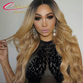 Two Tone Dark Roots Ombre Blonde Full Lace Human Hair Wigs Brazilian Virgin Hair Body Wave Ombre Glueless Lace Front Wig
