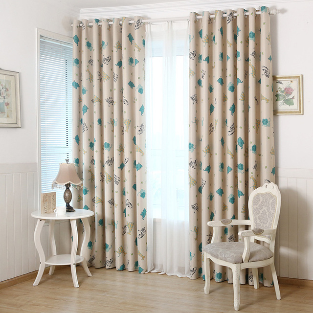 Animal Paradise Korean Curtain Bedroom Window Curtain Cloth Cute Kids  Curtains For Children Room Living Room