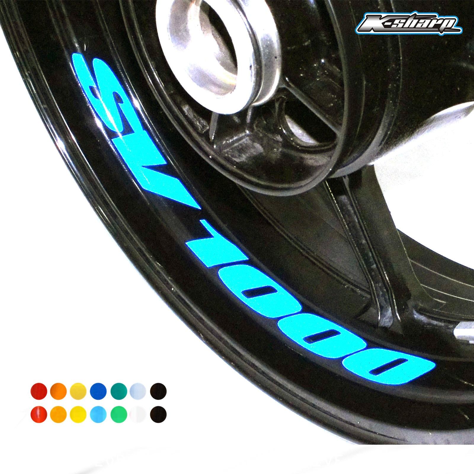 8 X Custon Inner Rim Decals Wheel Reflective Stickers Stripes FIT SUZUKI SV1000