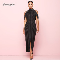 Seamyla New Winter Luxury Dress Women Sleeveless Long Black White Dress Runway Sexy Beading Celebrity Party Dresses Vestidos
