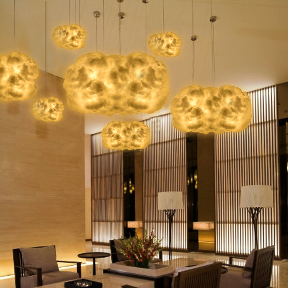 3D LED Cloud Shape Night Light Cotton Homemade Pendant Lamp Hotel Home Decor US