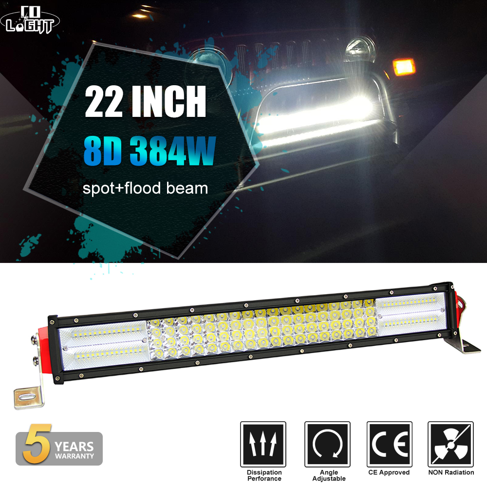 CO LIGHT 8D 22inch LED Light Bar 4-Rows 384W Spot Flood Offroad 4x4 Led Bar Led Driving Work Light for Truck SUV ATV 4WD 12V 24V new 30w led light bar 12v flood spot led work light bar led driving light for offroad atv 4x4 truck boat tractor marine