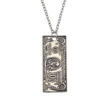 Fashion Lovely Alloy Money Pendant, Imitating Money 100 Dollar Bill Chain Necklace Mens Jewelry 50-70cm 1pcs Ne295