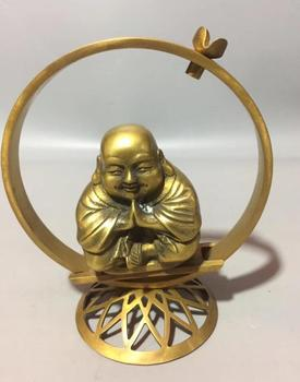 Collect exquisite brass handicraft young monk Backflow incense