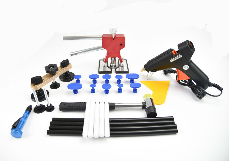 PDR Tool kit Paintless Dent Repair Bridge Puller Set Red Dent lifter glue gun Glue Sticks glue tabs Suction Cup Herramentas tool  paintless dent repair tool pdr kit dent lifter glue gun line board slide hammer dent puller glue tabs suction cup pdr tool set
