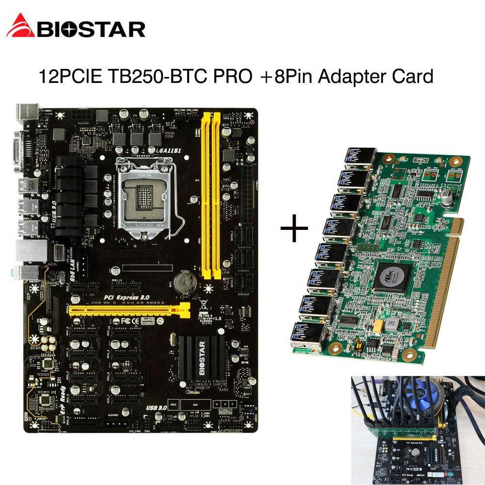 все цены на BIOSTAR TB250-BTC PRO 12PCIE Mining Motherboard+PCI-E PCI Express Riser Card PCI-E x16 Data Graphics SATA to 8Pin Adapter Card