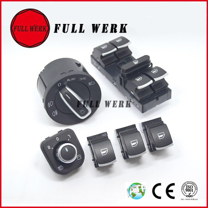 Replacement Auto Headlight Switch+Window Lifter Switch+Side Mirror Switch for VW Jetta A5 MK5 Magotan Passat B6 CC Tiguan Golf