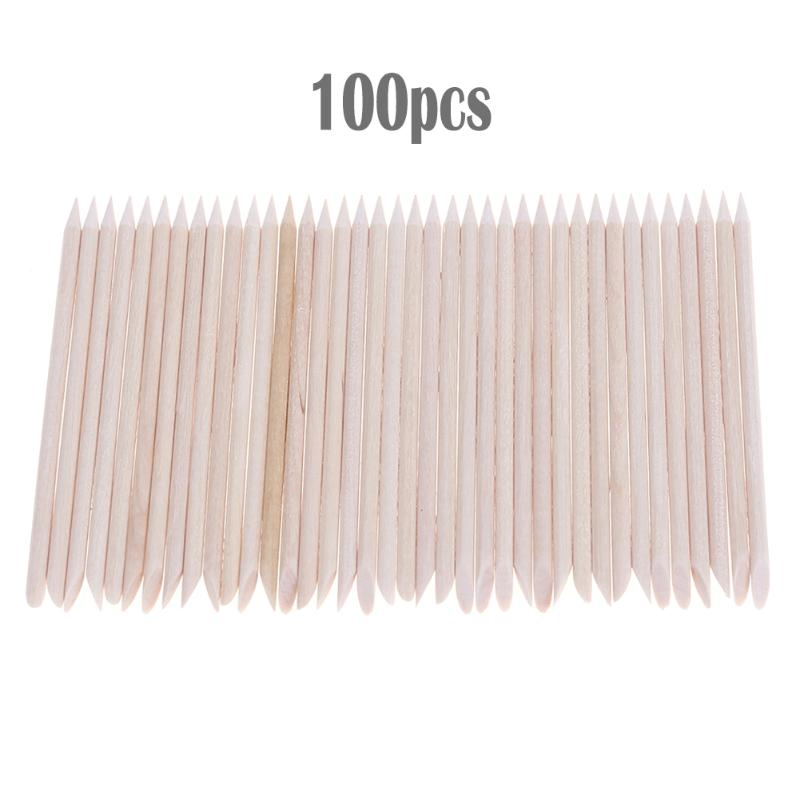 100pcs Nail Art Cuticle Pusher Remover Nail Art Design Orange Wood Stick Sticks Cuticle Pusher Died Skin Remover Manicure Tool