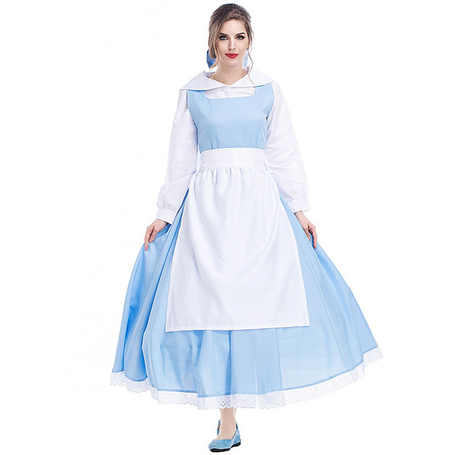 5cd8773b98 Cosplay Belle Costume Beauty and the Beast Women Blue Dress with White  Apron and Headwear Halloween Gift Adult Costume 2017 New