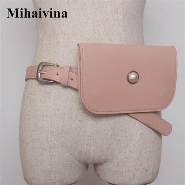 Mihaivina Luxury PU Leather Women Waist Bags Sweet Pearl Waist Packs Brand Lady Spring Dress Belt Bag Pouch Phone Purse 7 Colors