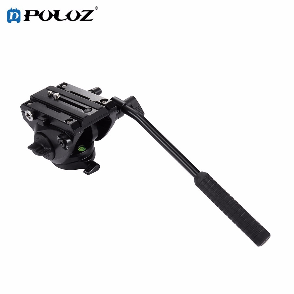 PULUZ PU3501B Tripod head Hydraulic Damping Video Camera Action Fluid Drag Pan Head with Sliding Plate for DSLR &SLR Cameras puluz heavy duty video camera tripod action fluid drag head with sliding plate for dslr
