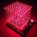 O envio gratuito de luz 3D8 cubo (partes) placa pcb + 60 s2 + 573 + 2803/CUBE8 8x8x8 3D LED + informações e fonte (3D8S) levou cubo