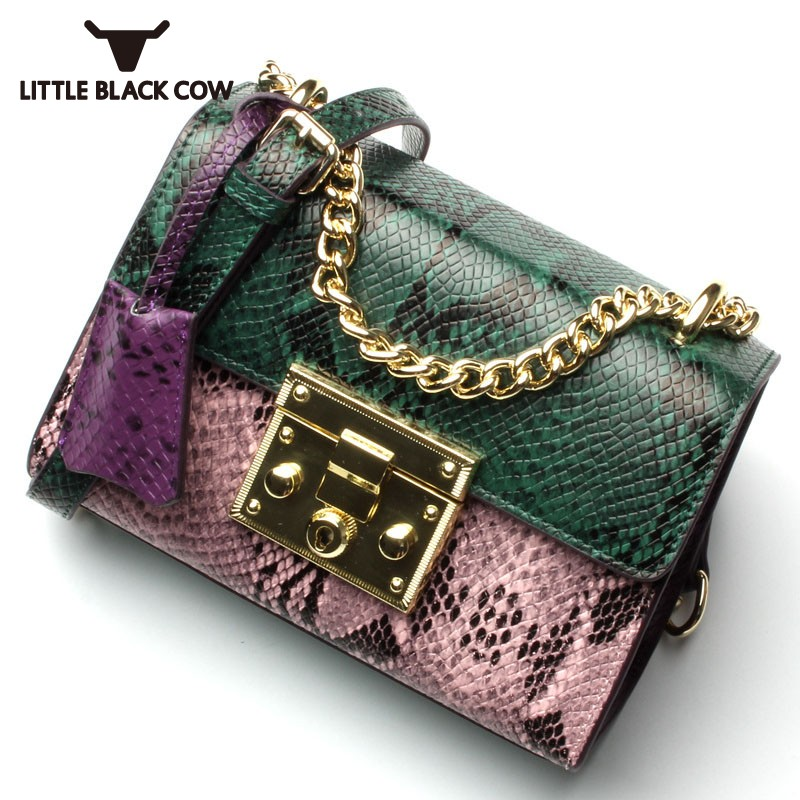 Elegant Ladies Chain Shoulder Bag Buckle Serpentine Designer Luxury Real Leather Handbag Party Messenger Crossbody Bag For WomenElegant Ladies Chain Shoulder Bag Buckle Serpentine Designer Luxury Real Leather Handbag Party Messenger Crossbody Bag For Women